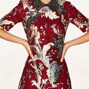 Zara brocade and embroidered dress